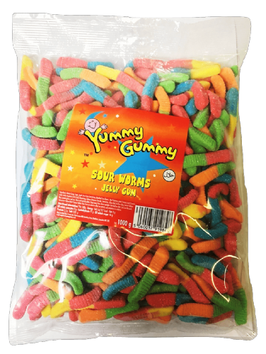 YUM26 YUMMY GUMMY SOUR WORMS 1KG